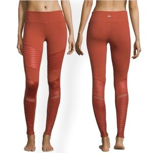ALO Yoga Moto Leggings Rust Burnt Orange Womens Large